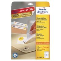 Etiketten Avery Zweckform L4737REV, 63,5x29,6 mm, ablösbar, weiss, Pk. à 810 Stk