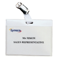 Lyreco badge met metalen clip 90x60mm - pak van 30