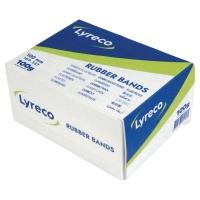 Caja de 100 gr de gomas elásticas estrechas LYRECO Largo: 100 mm
