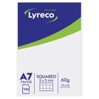Block 100 hojas grapado cabecera color blanco/azul A7 cuadriculado Lyreco