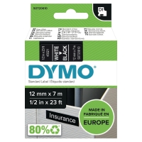 DYMO D1 LABELLING TAPE 12MMX7M WHITE ON BLACK - EACH