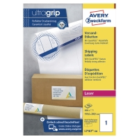 BOITE 100 ETIQUETTES D EXPEDITION LASER OPAQUES AVERY 199,6X289,1MM L7167