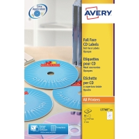 Caja de 50 etiquetas para láser color AVERY L7760-25 Ø117 mm blanco brillo