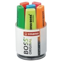 Zakreślacz STABILO BOSS ORIGINAL, zestaw 6 kolorów w kubku