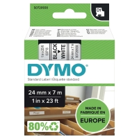 DYMO D1 LABELLING TAPE 24MMX7M BLACK ON WHITE - EACH