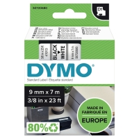 DYMO D1 LABELLING TAPE 9MMX7M BLACK ON WHITE - EACH