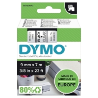 TEKSTTAPE DYMO 40910 9MM SORT/KLAR