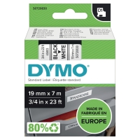 DYMO D1 LABELLING TAPE 19MMX7M BLACK ON WHITE - EACH
