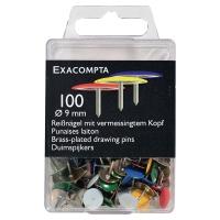 Caja de 100 chinchetas planas nº1 en colores surtidos diámetro: 9 mm