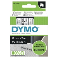 DYMO D1 LABELLING TAPE 12MMX7M BLACK ON CLEAR - EACH