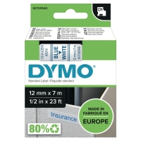 DYMO D1 LABELLING TAPE 12MMX7M BLUE ON WHITE - EACH