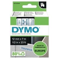 Cinta autoadhesiva DYMO D1 para rotuladora texto azul/fondo blanco 12mm