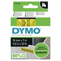 DYMO D1 LABELLING TAPE 12MMX7M BLACK ON YELLOW - EACH
