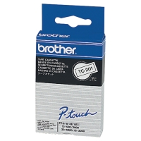 BROTHER  TC201 LABEL TAPE 12MM BLACK ON WHITE - EACH