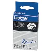 Schriftband Brother P-touch TC-201, 12 mmx7,7 m, laminiert, schwarz/weiss