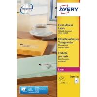 Avery L7560 transparante etiketten 63,5x38,1mm - doos van 525