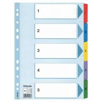 Przekładki kartonowe ESSELTE Mylar z laminowanymi kolorowymi indeksami A4  1-5