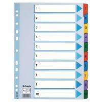 Przekładki kartonowe ESSELTE Mylar z laminowanymi kolorowymi indeksami A4  1-10