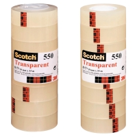 PAQUET DE 8 ROULEAUX DE SCOTCH 550 TRANSPARENT 19 MM X 33 M
