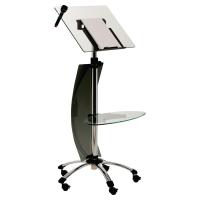 Atril de orador ajustable estanterias de vidrio templado incluye ruedas y frenos