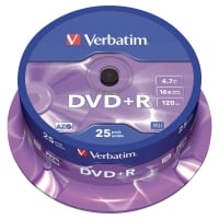 Verbatim DVD+R 4.7GB 1-16x snelheid spindle - pak van 25