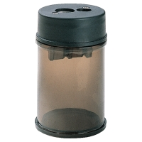 Dosen-Spitzer, 2 Loch, Kunststoff, rauch/schwarz