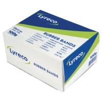 Caja de 100 gr (30 aprox) de gomas anchas LYRECO Largo: 120 mm