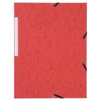Lyreco 3-kleppenmappen met elastieken karton 390g rood - pak van 10