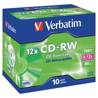 CD-RW 700 MB 80 MIN VERBATIM - CONF.JEWEL CASE DA 10