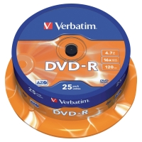 Verbatim DVD-R 4.7GB 1-16x snelheid spindle - pak van 25
