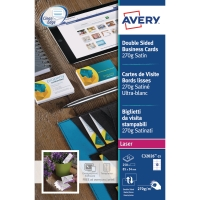 Caja de 250 tarjetas Quick & Clean láser color AVERY de 85 x 54 mm