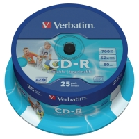 Płyta CD-R VERBATIM Printable 52x, w opakowaniu 25 sztuk