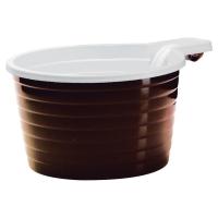 Plastové poháre na kávu hnedo-biele, 180 ml, 50 kusov