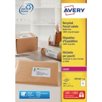 BOITE 800 ETIQUETTES D EXPEDITION RECYCLEES LASER AVERY 99,1X67,7MM LR7165