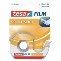 RUBAN ADHESIF DOUBLE FACE TRANSPARENT TESA 12MM X 7,5M SUR DEVIDOIR