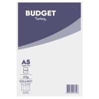 Block 100 hojas grapado cabecera blanco/gris A5 cuadriculado Lyreco Budget
