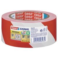 Cinta señalizadora adhesiva TESA de color blanco/rojo
