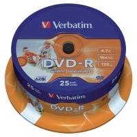 DVD-R Verbatim potlačovateľné DVD 4,7 GB, 1-16x, 25 kusov/balenie