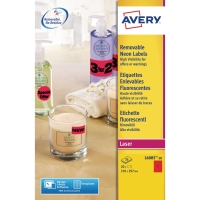 Avery L6005 étiquettes fluorescentes 210x297mm rouge - boite de 20