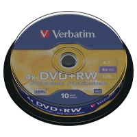 DVD+RW 4.7 GB 120 MIN VERBATIM - CONF.SPINDLE DA 10