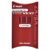SET DE 3 CARTOUCHES POUR ROLLERS ENCRE LIQUIDE PILOT V5/V7 HI-TECPOINT ROUGE