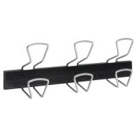 Perchero Alba 3 colgadores 7 5x16 4x46cm negro/metal