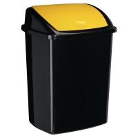 Contenedor con tapa basculante en polipropileno 50 litros negro/amarillo