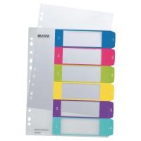 Leitz WOW numerieke tabbladen 6-tabs in PP A4+ assorti kleuren