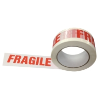 Verpackungsband Fragile, PP, 50 mmx100 m, weiss/rot, Packung à 6 Rollen