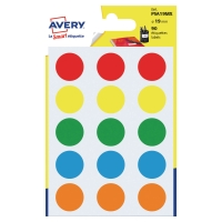 Avery PSA19MX gekleurde kantooretiketten 19mm assorti - pak van 90
