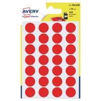 Farebné etikety Avery, Ø 15, červená fraba, 168 etikiet/balenie