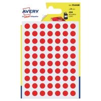 Farebné etikety Avery, Ø 8, červená farba, 490 etikiet/balenie