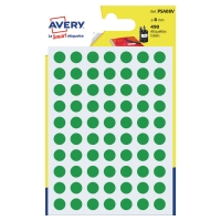 Farebné etikety Avery, Ø 8, zelená farba, 490 etikiet/balenie
