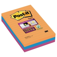 Post-it Super Sticky Notes gelijnd 102x152 mm Bangkok kleuren - pak van 3